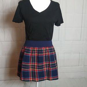 Hollister Red & Blue Plaid Pleated Mini Skirt